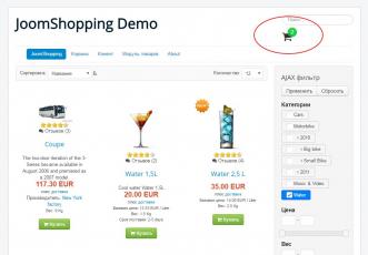 AJAX корзина для JoomShopping