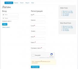 Страница входа/регистрации пользователя